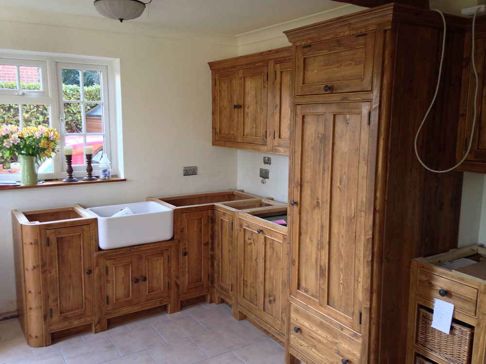 Rustic pine kitchen wolds furniture company for Pine kitchen furniture